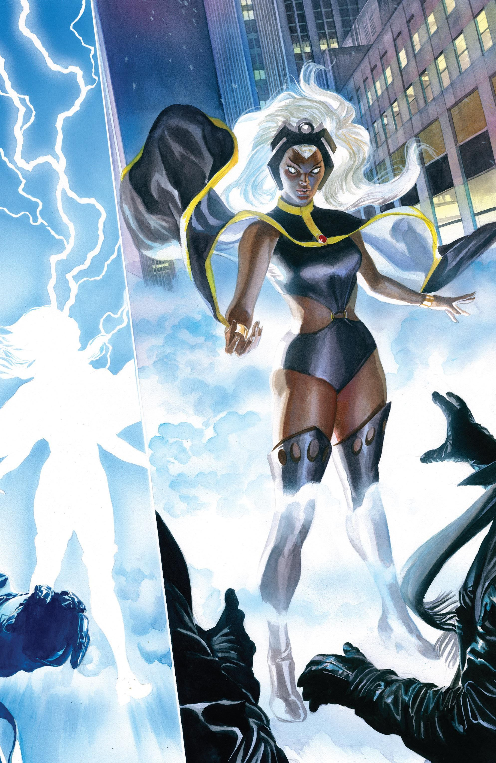 Electric full page spread of Storms shocking transformation from Marvels: Epilogues retelling of X-