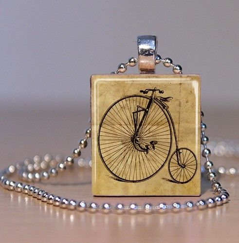 Vintage high wheel bicycle on a scrabble tile pendant my spiffy vintage high wheel bicycle on a scrabble tile pendant aloadofball Choice Image