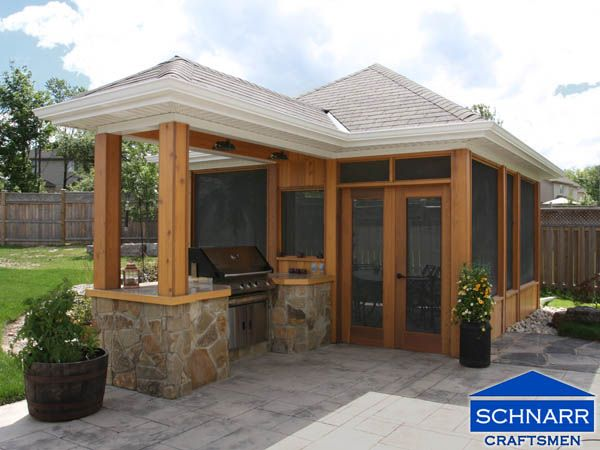 Free Standing Screened In Porch With Covered Bbq Patio Design Screened Gazebo Outdoor Kitchen Design
