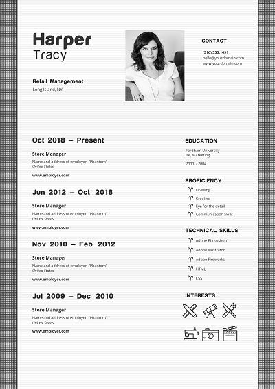 Arenga Monochrome Combination Cv W Barcode Professional Templates Best Resume Resume Templates