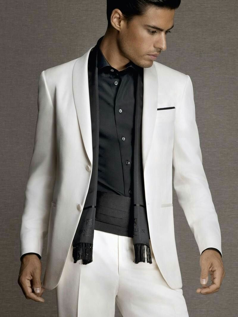 132dd868af1 Micro-effect glossy wool silk dinner Off-white two-button with satin shawl  collar and covered without pleats