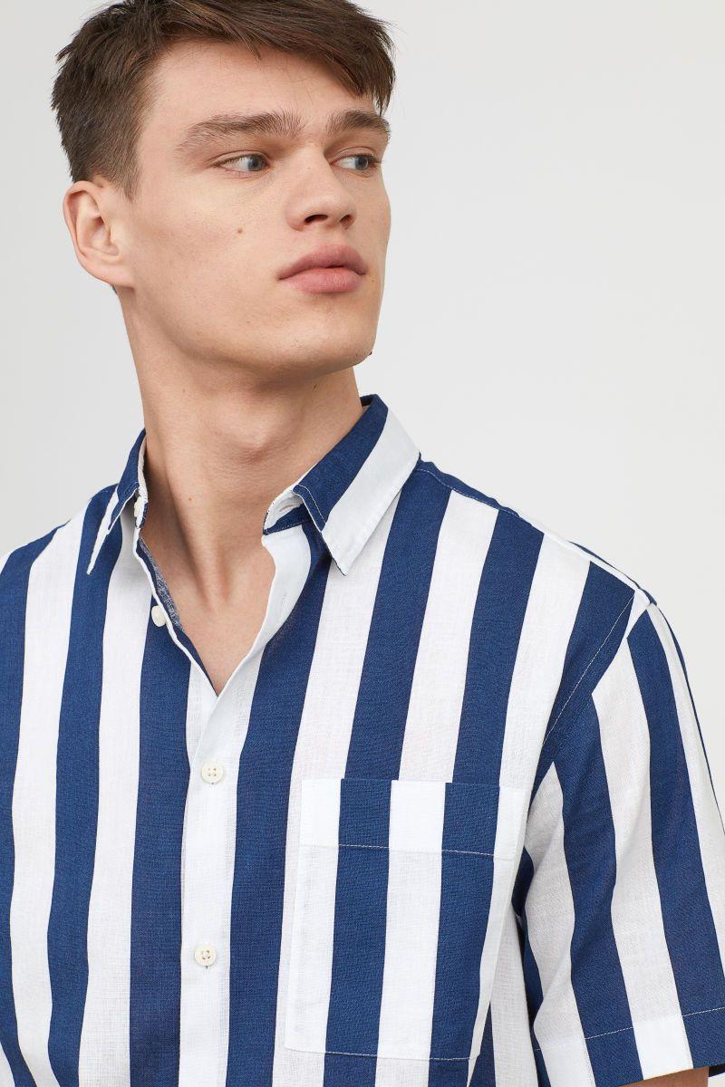 c84b227858 Regular Fit Short-sleeve Shirt | Dark blue/white striped | MEN | H&M ...