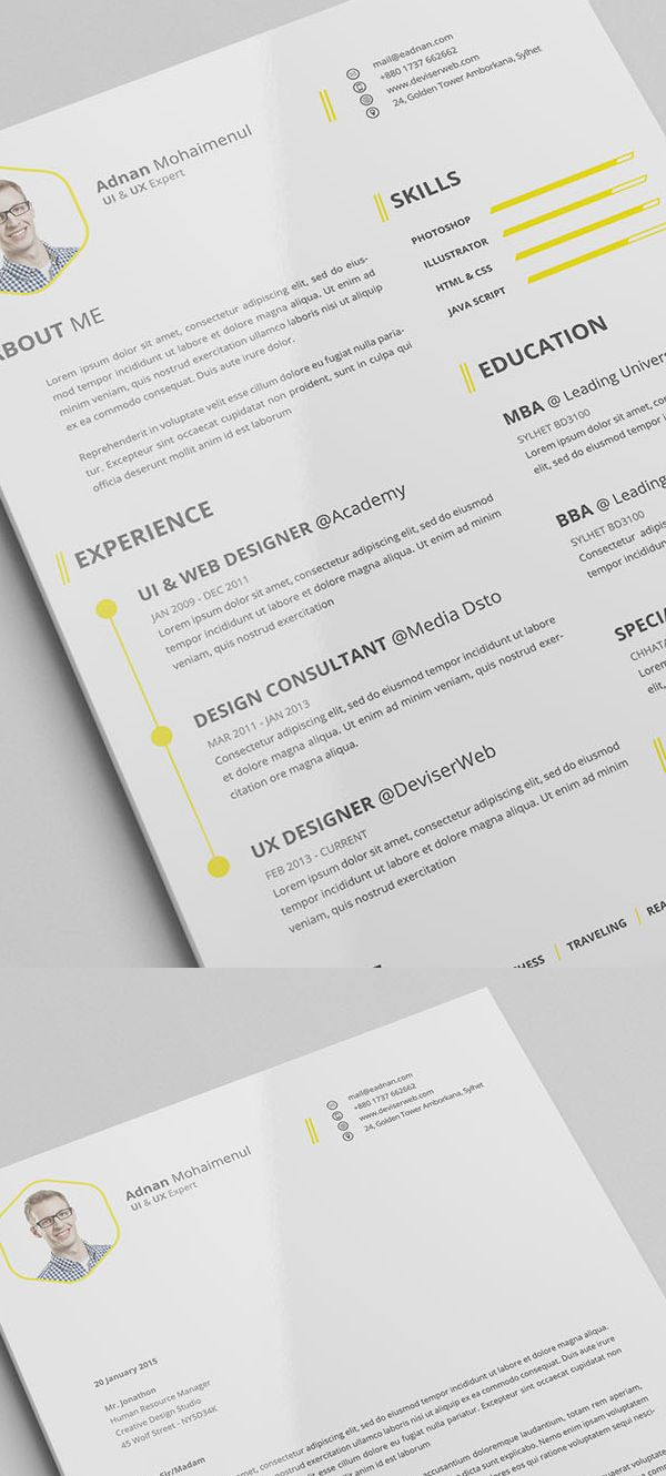 Free Minimalistic Resume Templates With Cover Letter Template