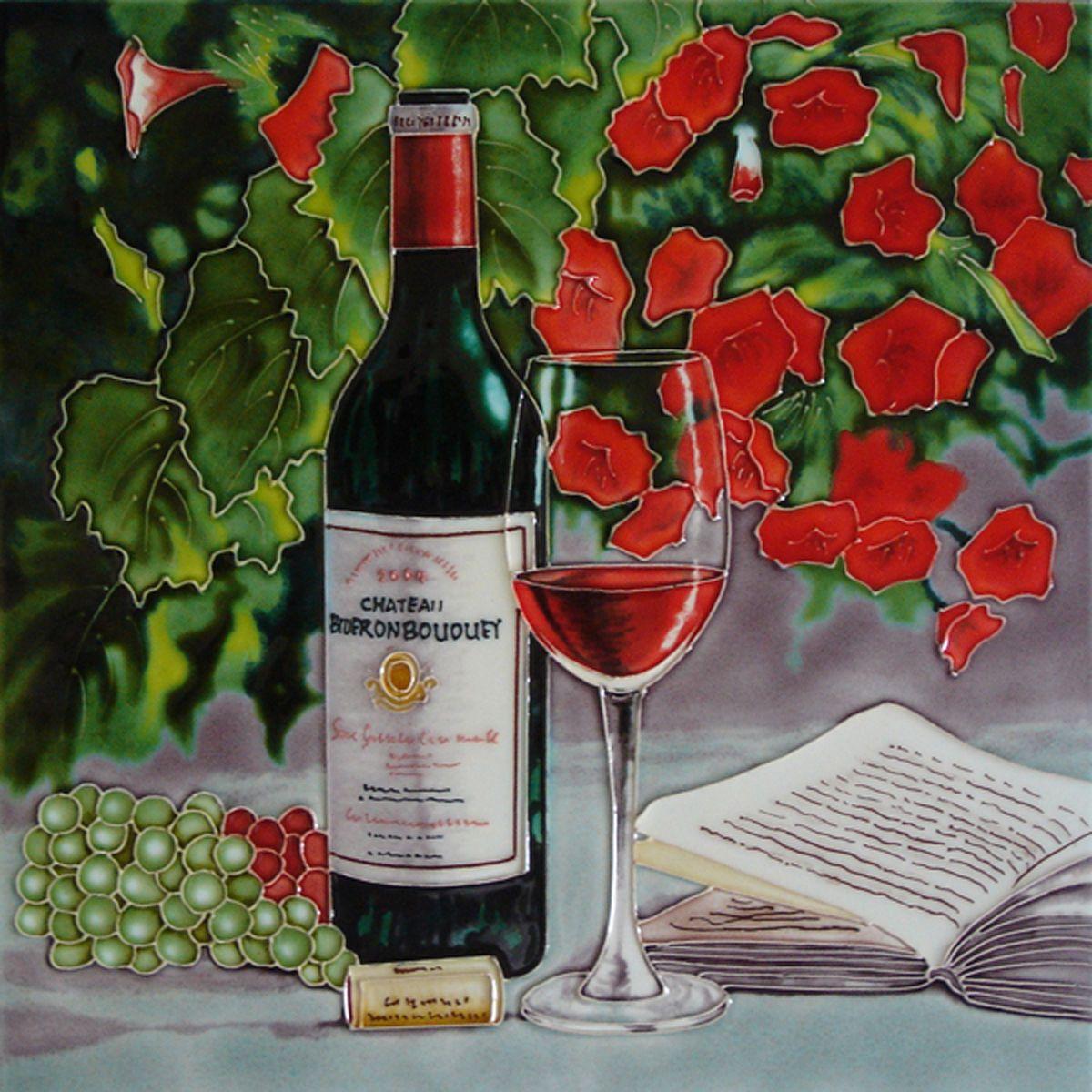 Decorative Ceramic Tiles Kitchen Fascinating Red Wine & Red Flowers Decorative Ceramic Kitchen Picture Tile Inspiration