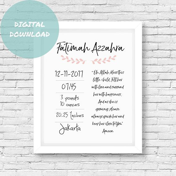 Birth announcement islamic baby gift islamic wall islamic birth birth announcement islamic baby gift islamic wall islamic birth stats islamic nursery negle Image collections