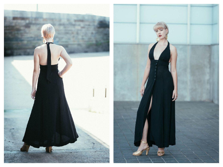 Vintage 70\'s Ossie Clark Black Halterneck Radley Maxi Dress Plunge ...