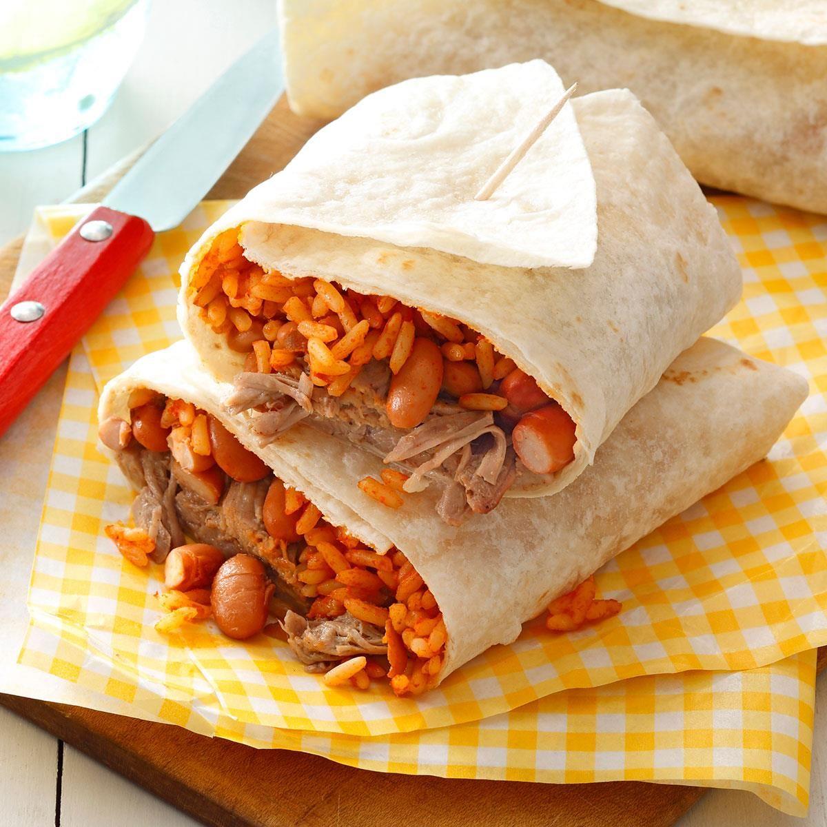 Pork Bean Rice Burritos Recipe Recipes Burritos Slow Cooker Dinner
