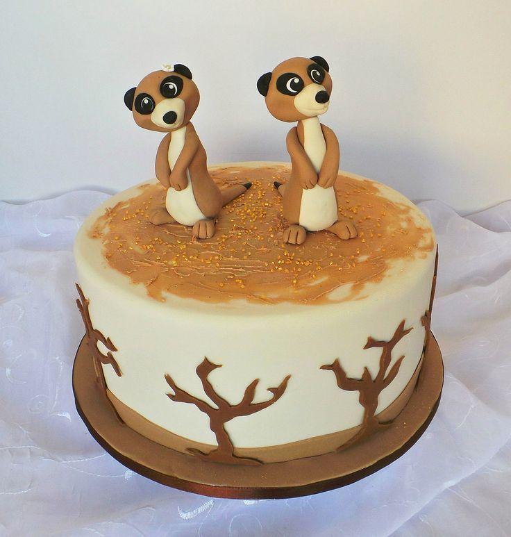 cake design kinder recette Namib/desert landscape cake with Meerkat toppers. Description from