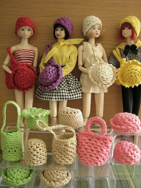 Crocheted hats and purses. I kept my Malibu Barbie for this reason....perfect model, and she doesn't move if you stick her with a pin!