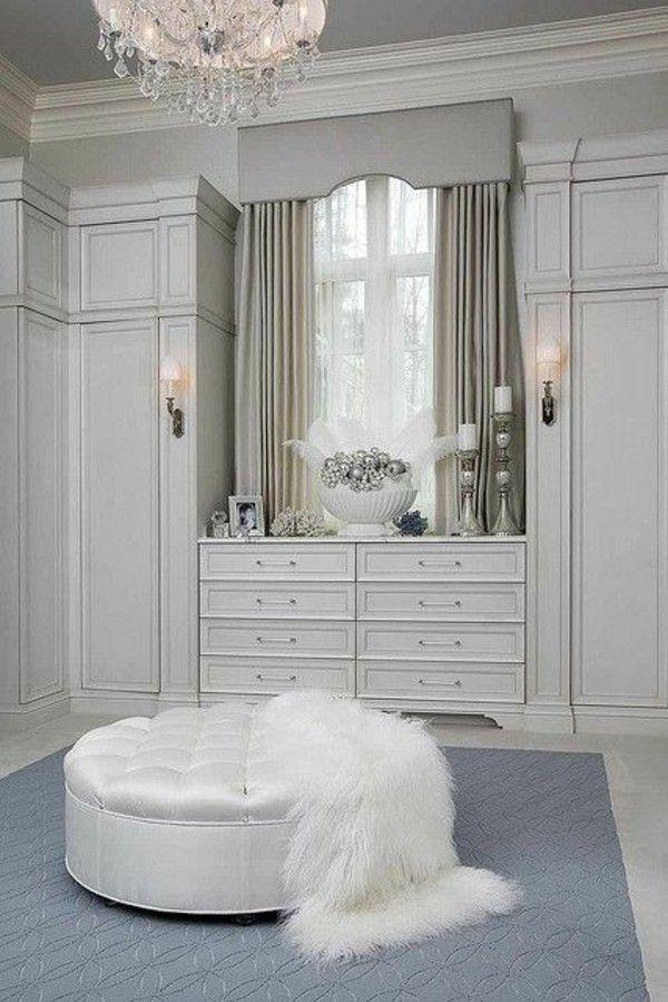 Grey Colour Design Wardrobe Systems Walk In Closet White Leather