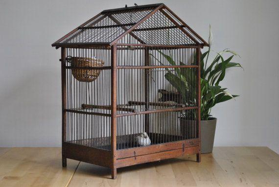 old wooden bird cage en bois oiseaux et ancien. Black Bedroom Furniture Sets. Home Design Ideas