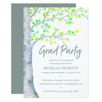 Watercolor Spring Birch Tree Graduation Party Card Graduation - Graduation party invitations ideas