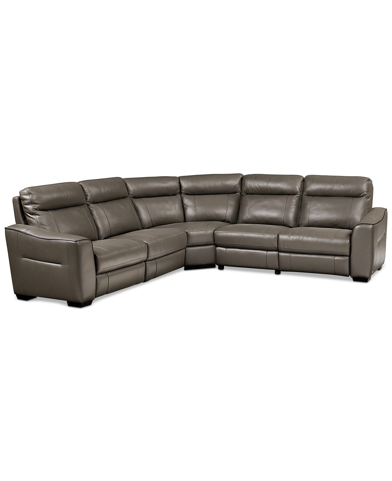 Destin Leather 5piece Sectional Sofa With 3 Power Recliners  Sectional  Sofas  Furniture