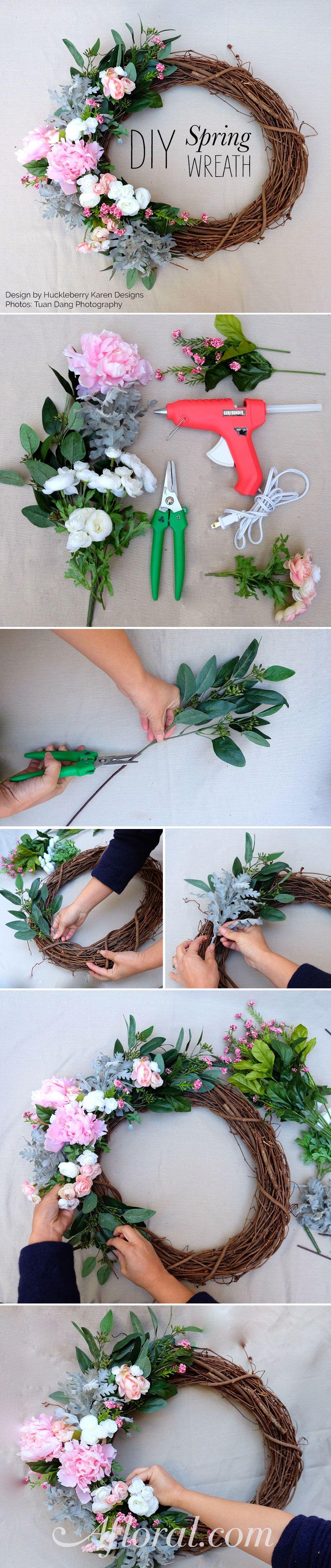 Diy spring wreath diy spring wreath diy design and silk for Diy summer wreath