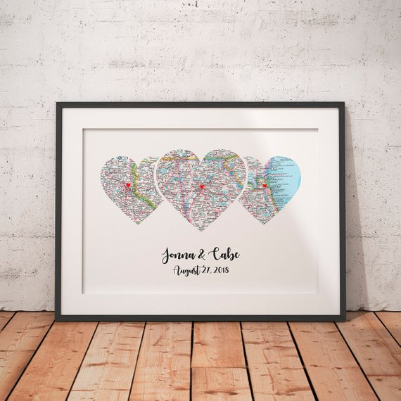 honeymoon location personalised gift Engagement gift Engagement Personalised map gift scrabble frame Heart map wedding gift