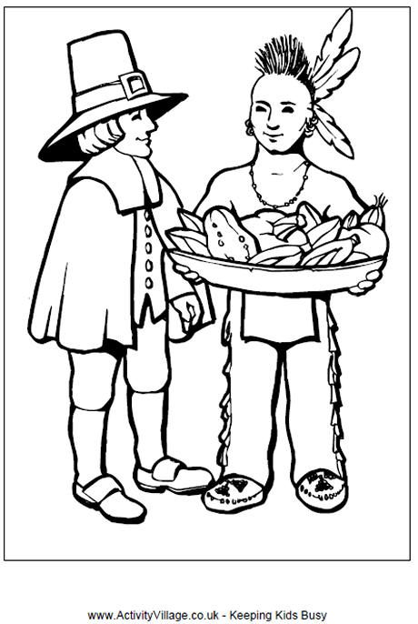 Pilgrim and indian colouring page