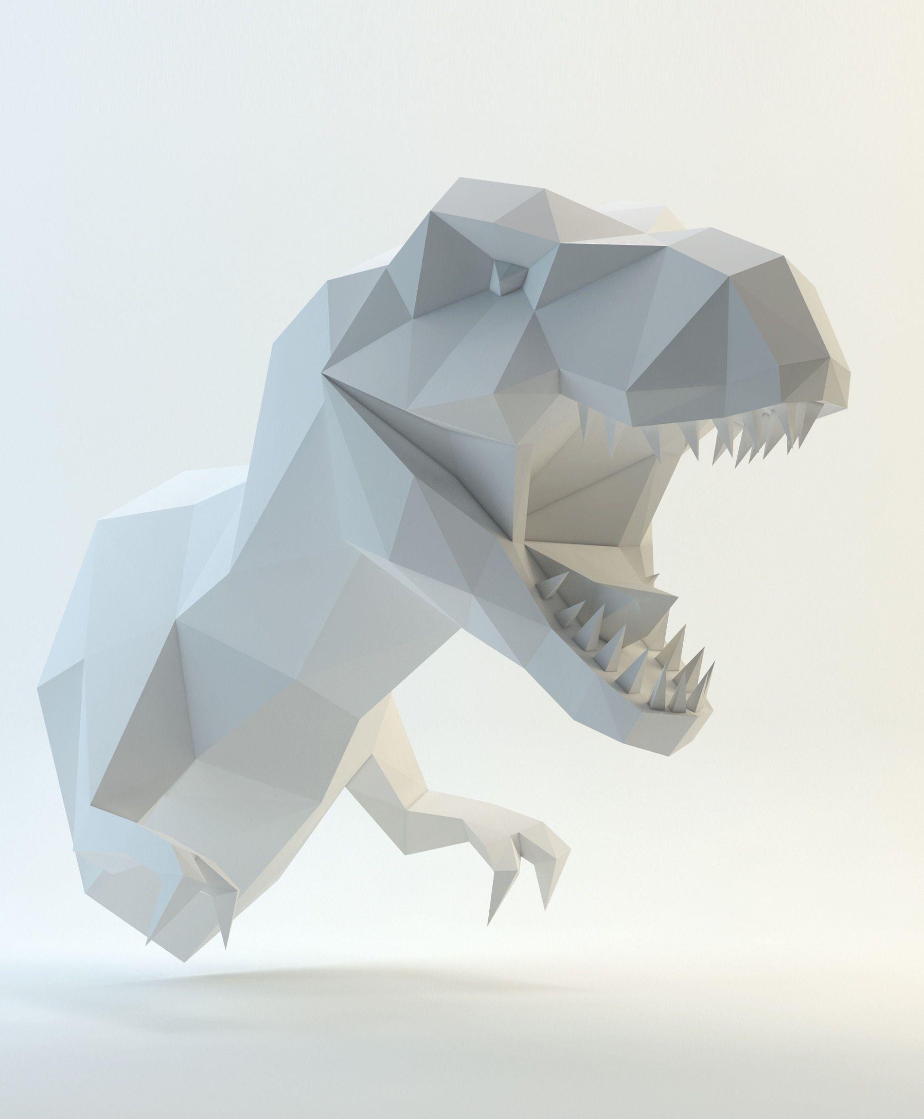 Xl t rex grau rot papercraft origami and 3d jeuxipadfo Choice Image
