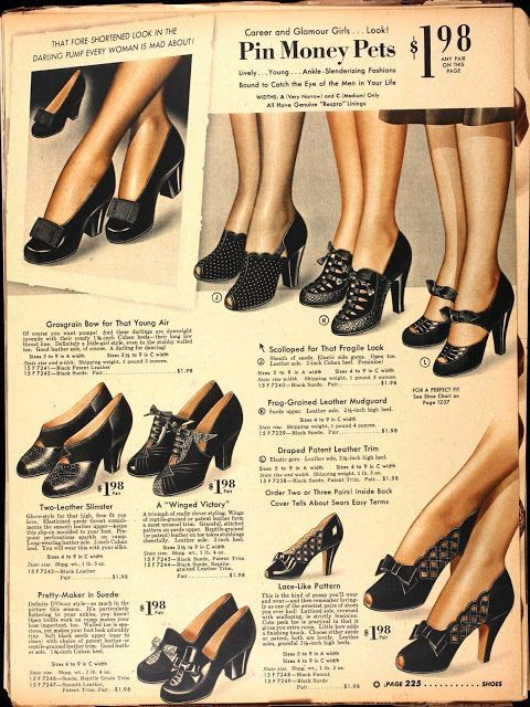 The Real And The Inspired By 1940s Fashion: Vintage Shoes, Vintage Inspired Shoes