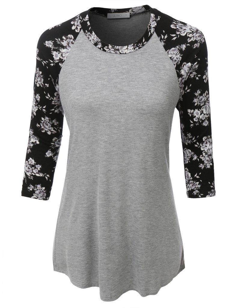 6e8de0293 Ultra Soft 3/4 Sleeve Floral Graphic Baseball Top | Winter Fashion ...