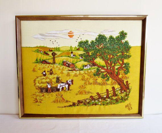 Vintage 1980/'s Fiber Art Embroidered Framed Art Crewel Work Scenic View Framed Embroidery Scenic Needlepoint work