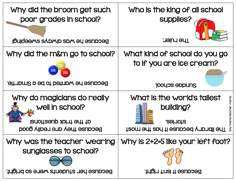 Boy Mama Back to School Lunch Box Riddles Printable (With