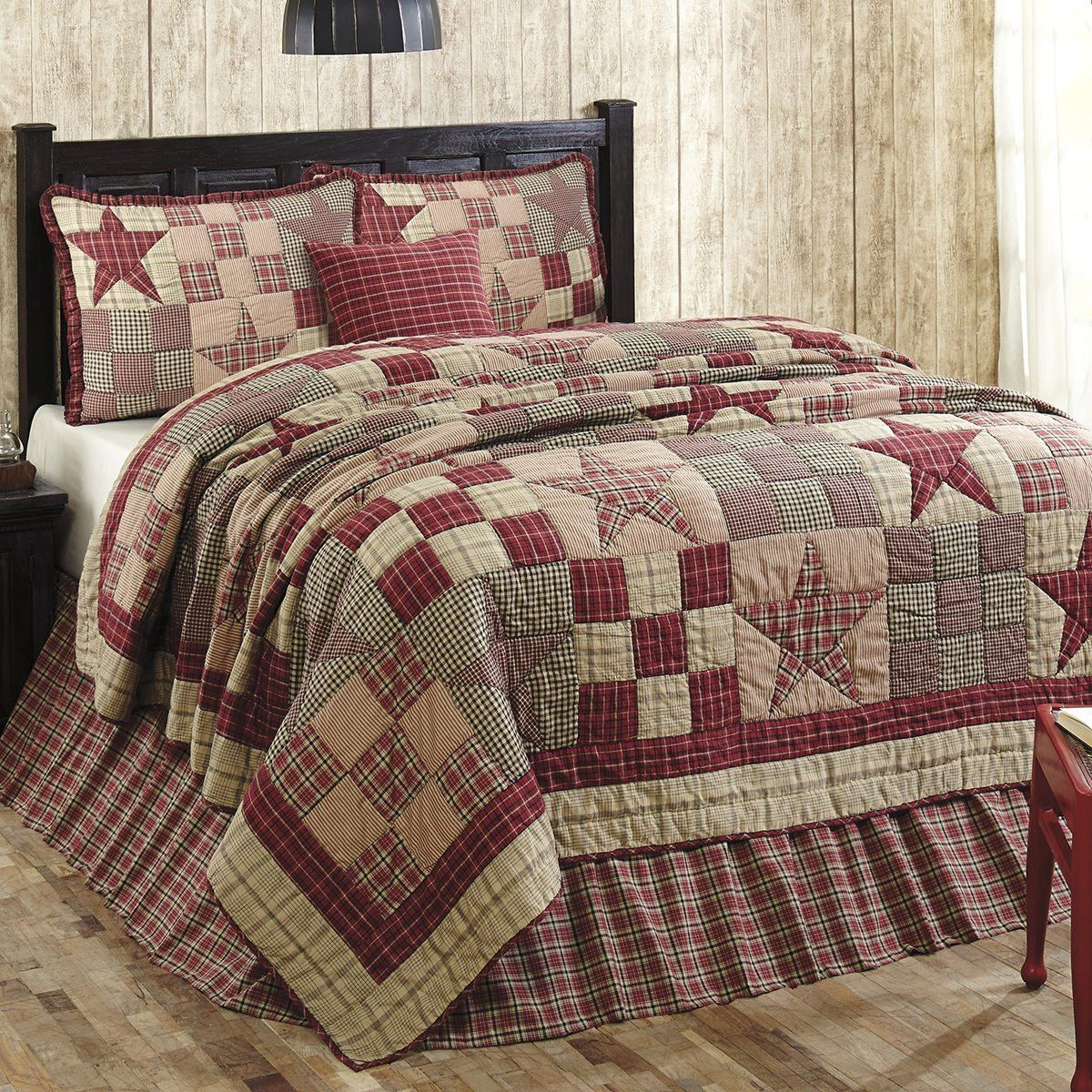 Star Patch Red Queen 5 Piece Quilt Set Quilting Quilts