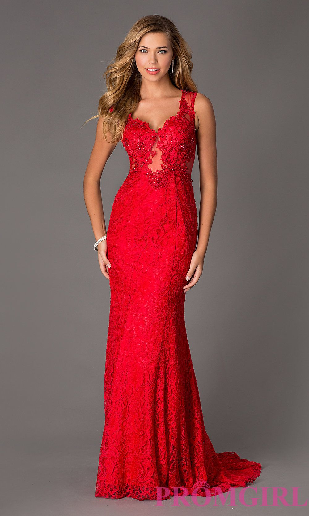 Floor Length Sleeveless Lace Dress by Swing Prom | Red lace ...
