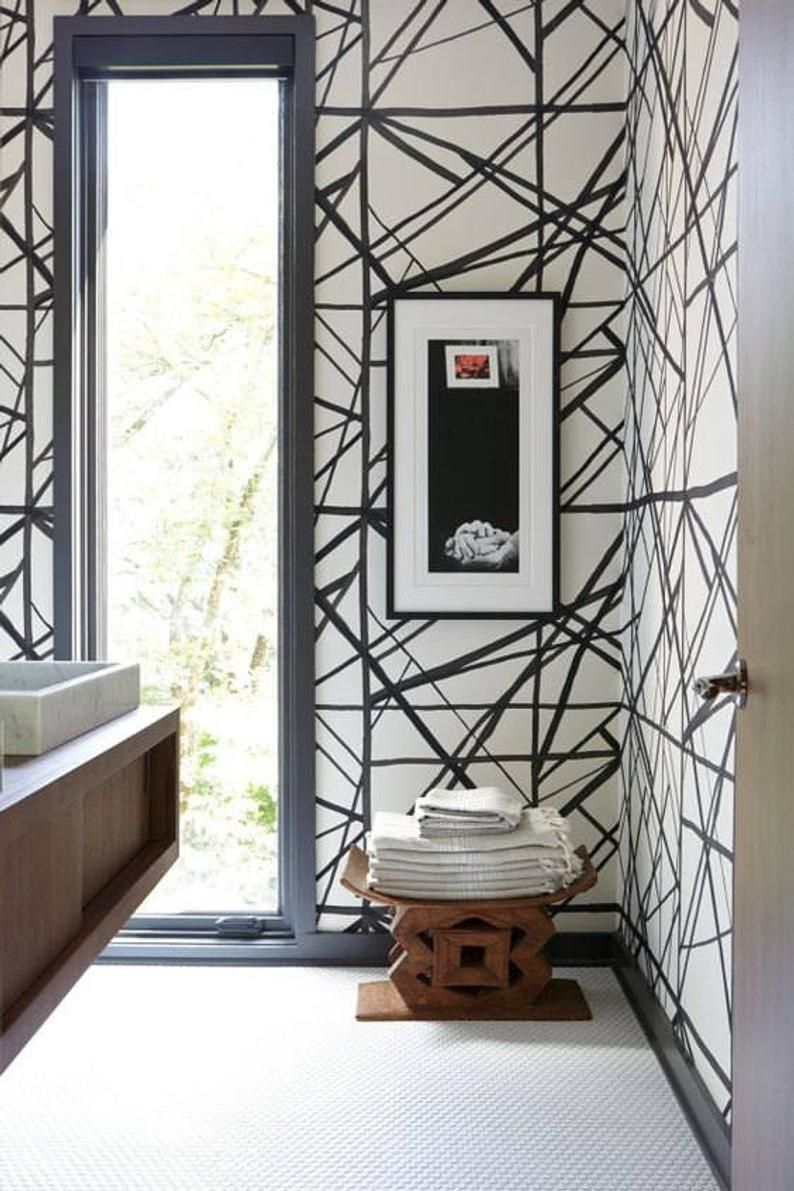 Ashanti Stool Vintage Ghana Etsy In 2020 Black And White Wallpaper White Wallpaper Kelly Wearstler Wallpaper