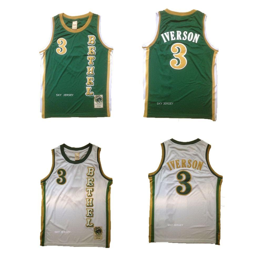 Aliexpress.com   Buy Allen Iverson Bethel High School Jersey Bethel 3 Allen  Iverson Green White Throwback High School Basketball Jersey Cheap Jerseys  from ... 86938a2ac9ad