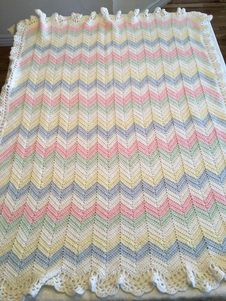 Hand Made Crocheted Baby Blanket Afghan Chevron Stripe Multicolored ...
