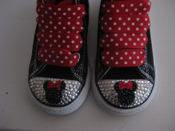 af1396279fb0b Custom converse Baby bling Minnie Mickey Strass