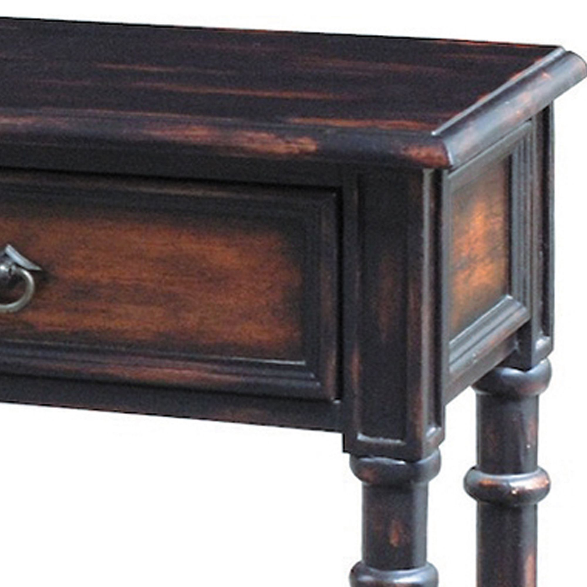 Hand painted Distressed Black Brown Finish Accent Console Table