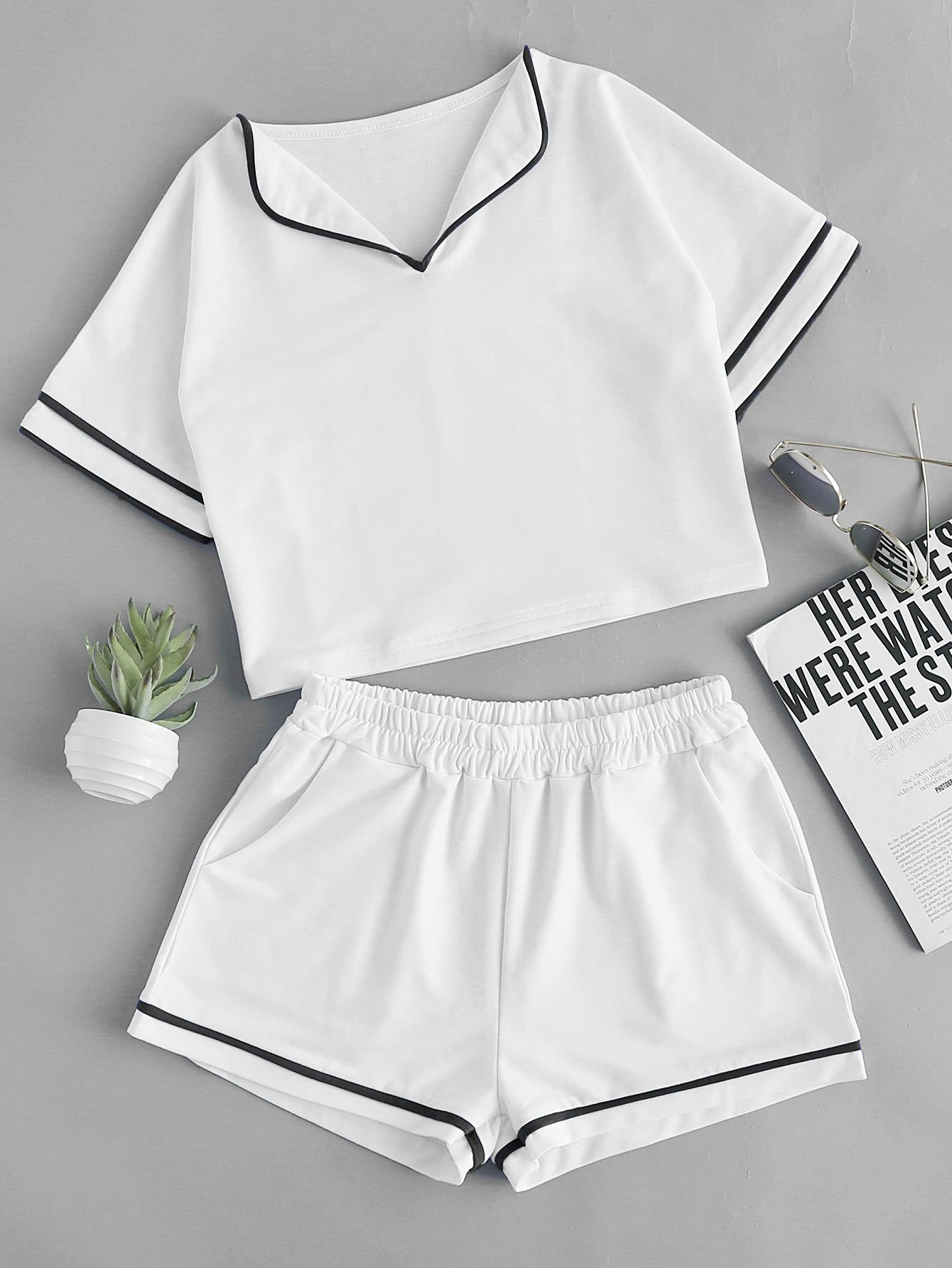 Foldover Neck Contrast Trim Top With Shorts