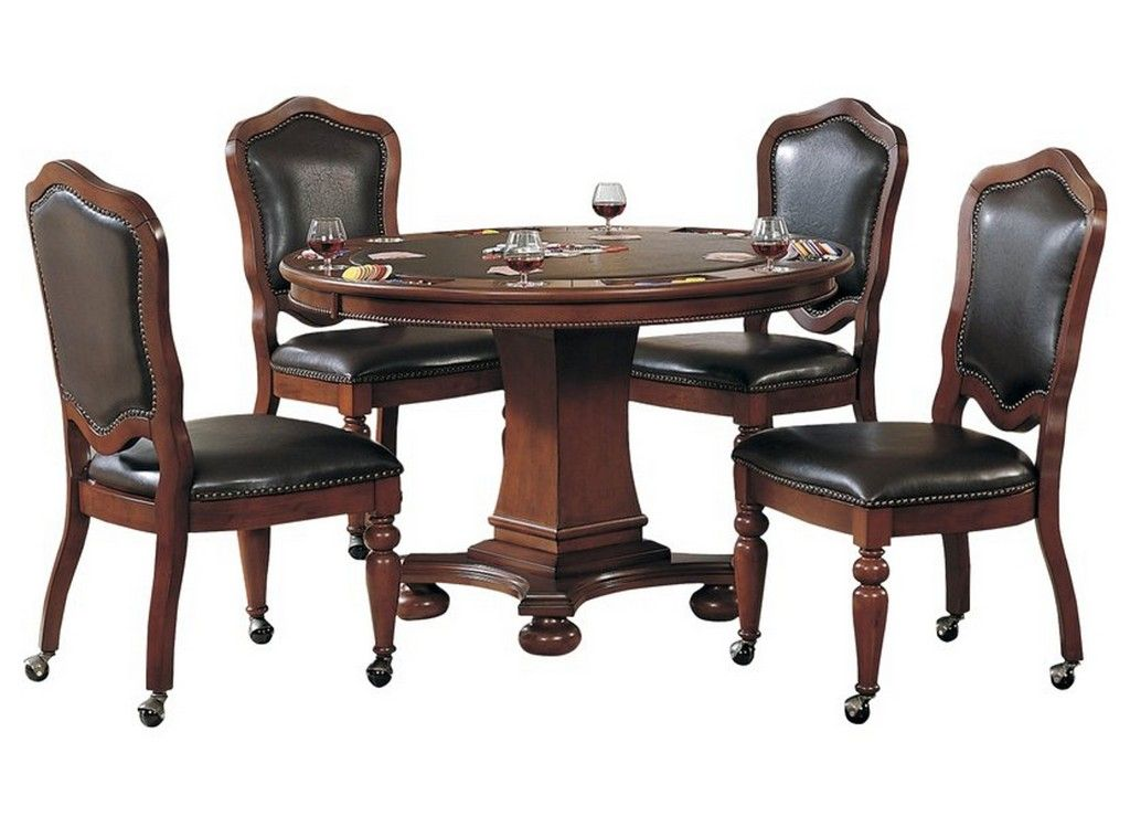 Sunset Trading 5 Piece Bellagio Dining And Poker Table Set With Reversible Game Top And Caster Chairs Wit Poker Table And Chairs Game Room Tables Caster Chairs Poker table and chairs set
