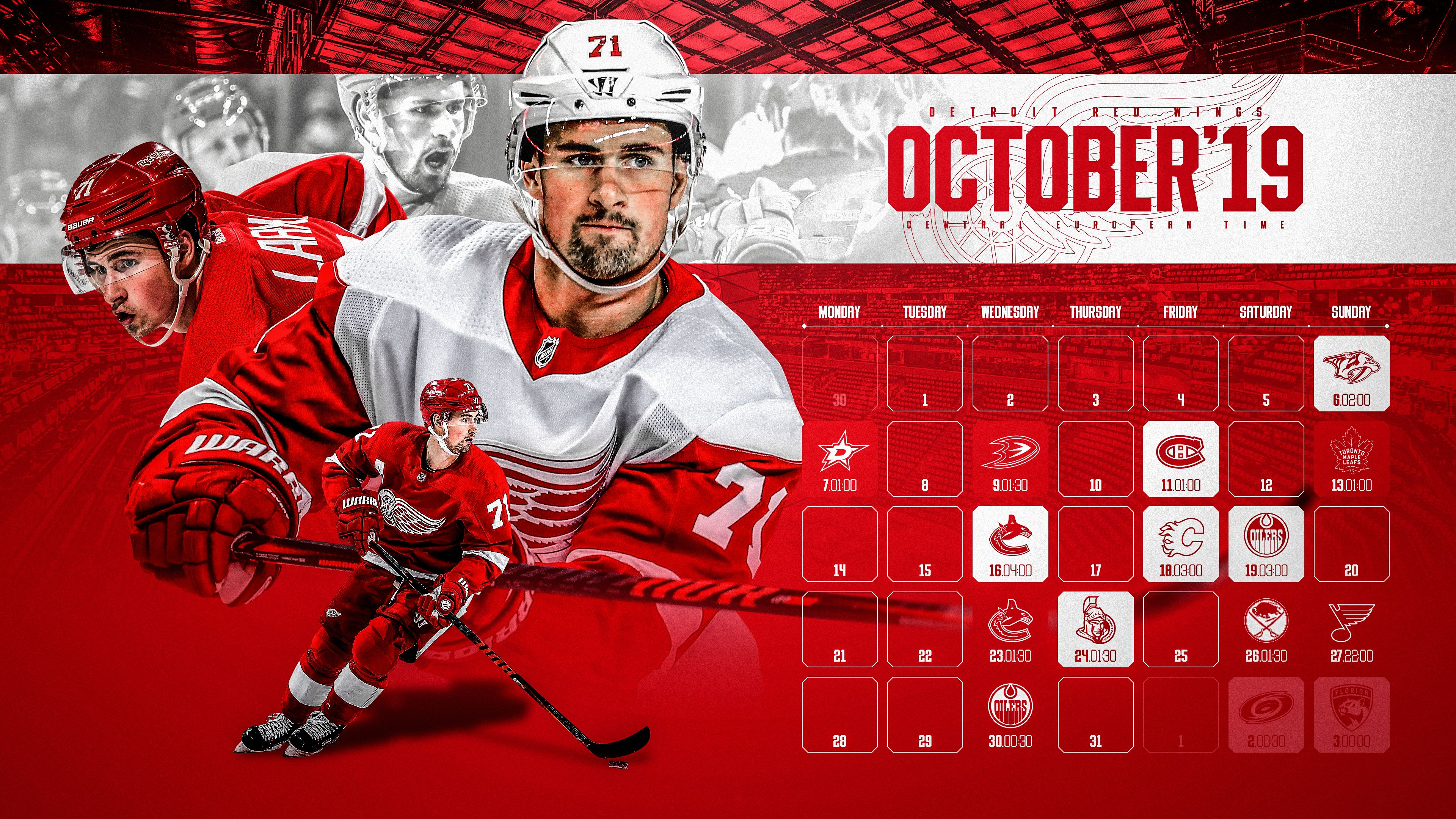 Schedule Wallpaper for the Detroit Red Wings Regular