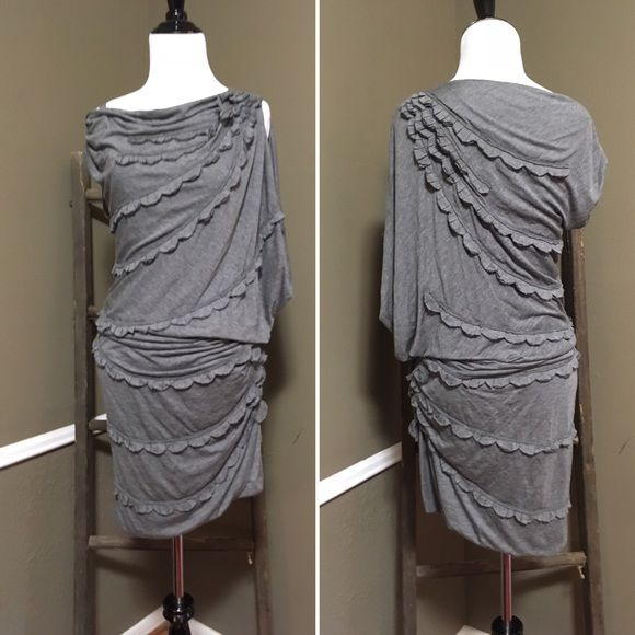 BGBGMaxAzria Runway Gray Ruffle Asymmetrical Dress Amazing dress BCBGMaxAzria Dresses Asymmetrical