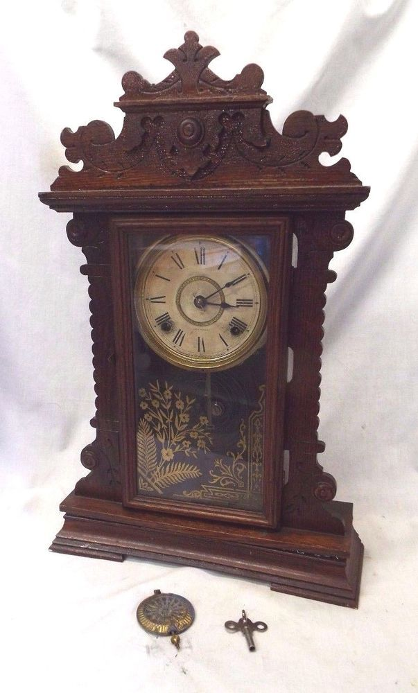 Old Antique Oak Seth Thomas 8 Day Gingerbread Shelf Clock All