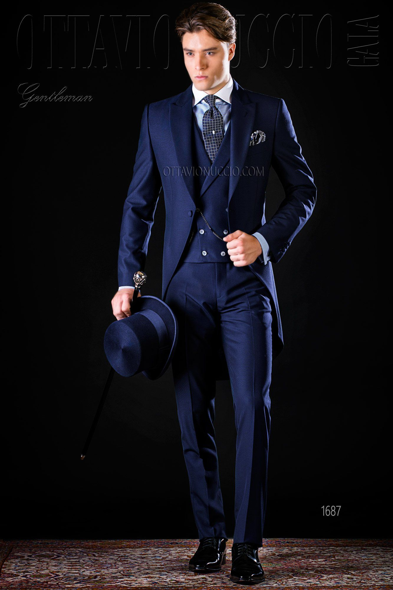 Midnight Blue Long Tail Suit Morningcoat Groom Wedding Tuxedo Luxury Mesnwear