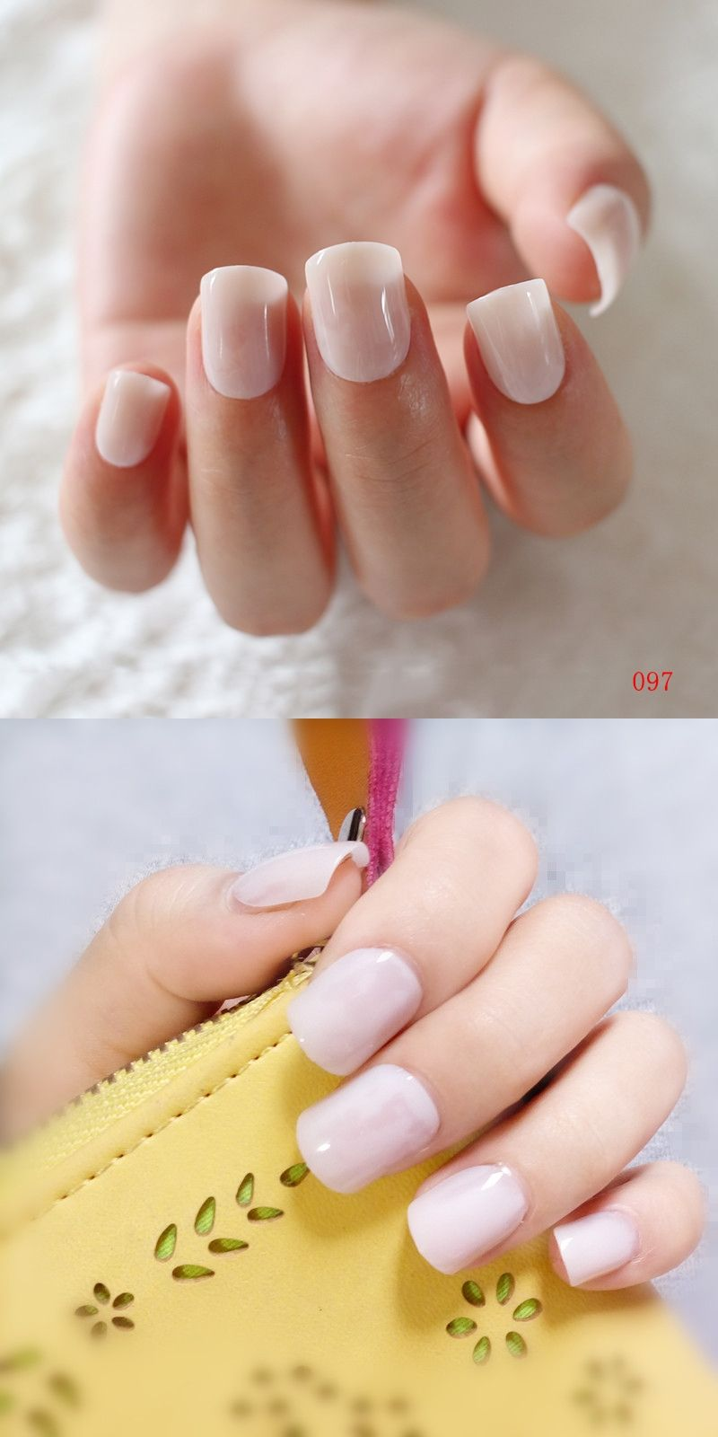 Candy Flat Fake Nails Natural Light Pink Artificial False Nail Tips ...