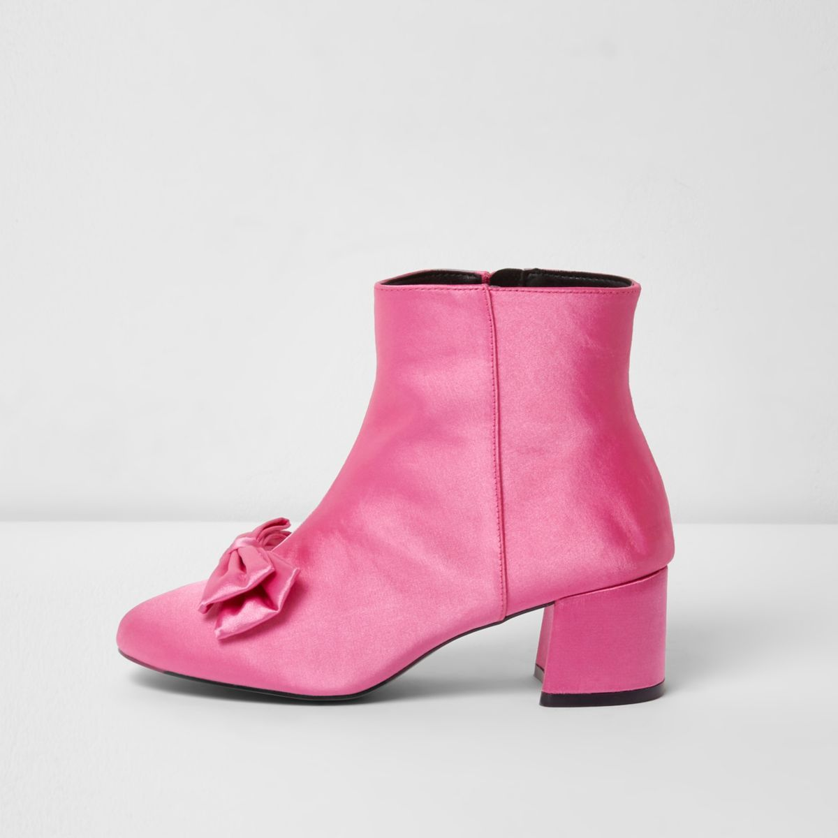 6eda2de1b4e Pink Satin Bow block heel ankle boots.   Wish List   Suede ankle ...