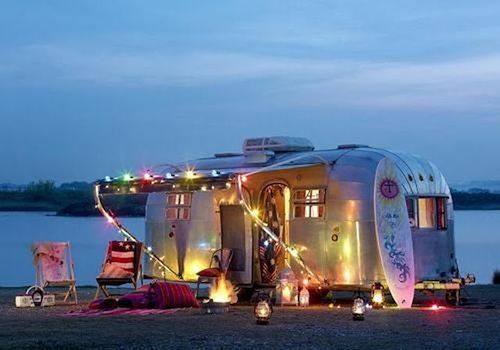 fairy lights caravan