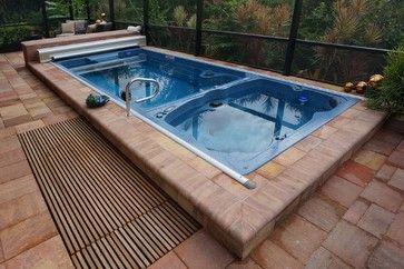 Swim Spa Next To Hot Tub On Deck Dropped In Pool Hot Tub Backyard Pool Endless Pool