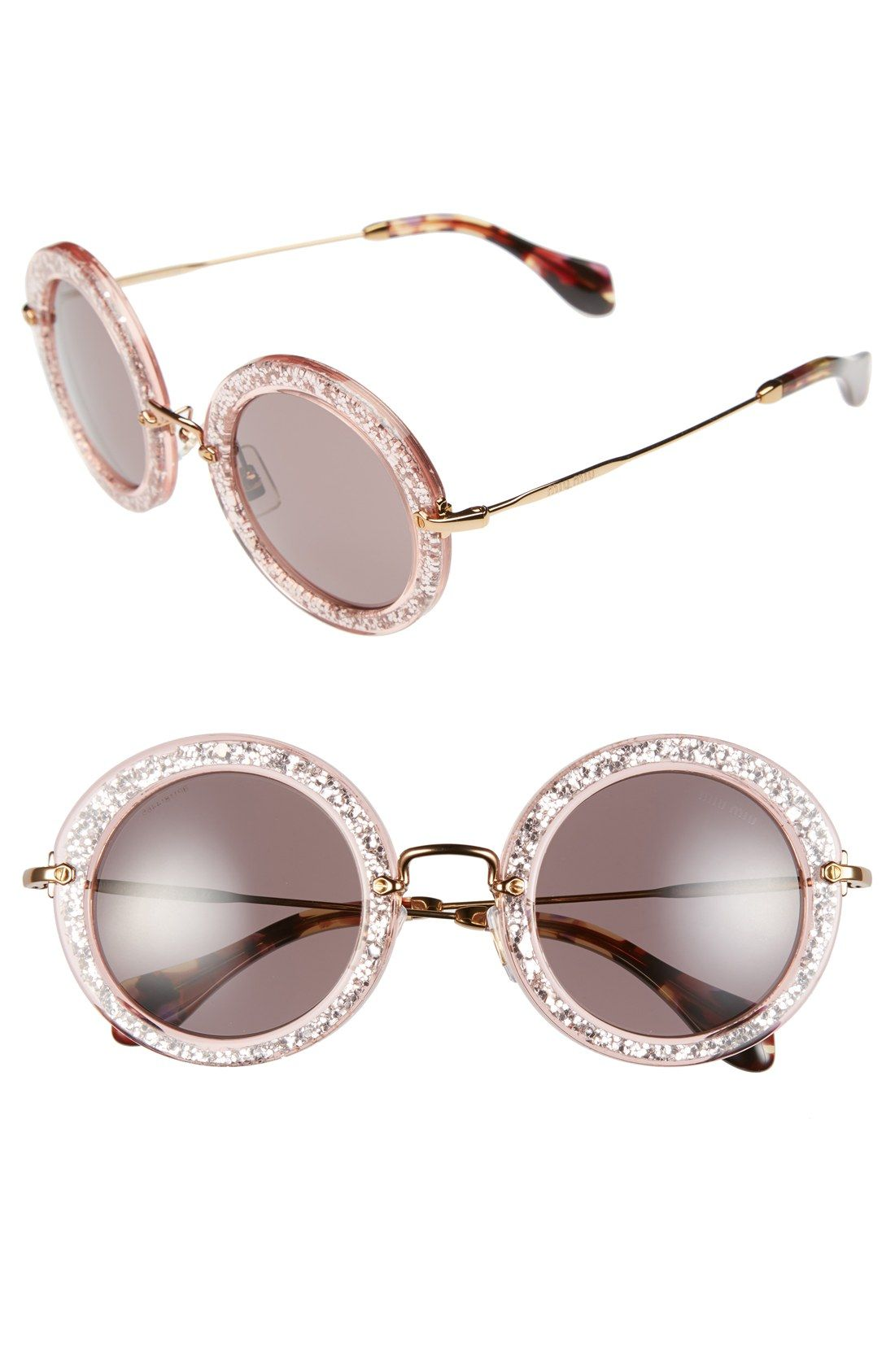 85afee4e55 These pink glitter Miu Miu round sunglasses are on the wish list ...