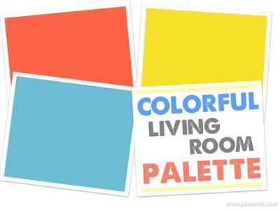 Colorful coral, yellow and blue living room color palette from labelmeorganized.blogspot.com