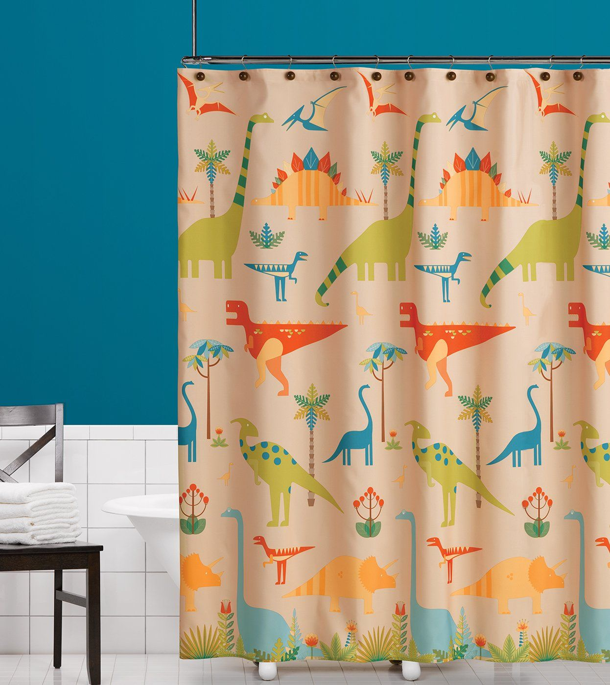 Amazon.com - Saturday Knight Dino Stomp Fabric Shower Curtain, Multicolor -