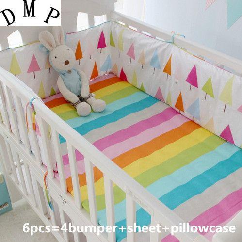 Promoción! 6 Unids Rainbow Ropa De Cama De Bebé Cama Cuna