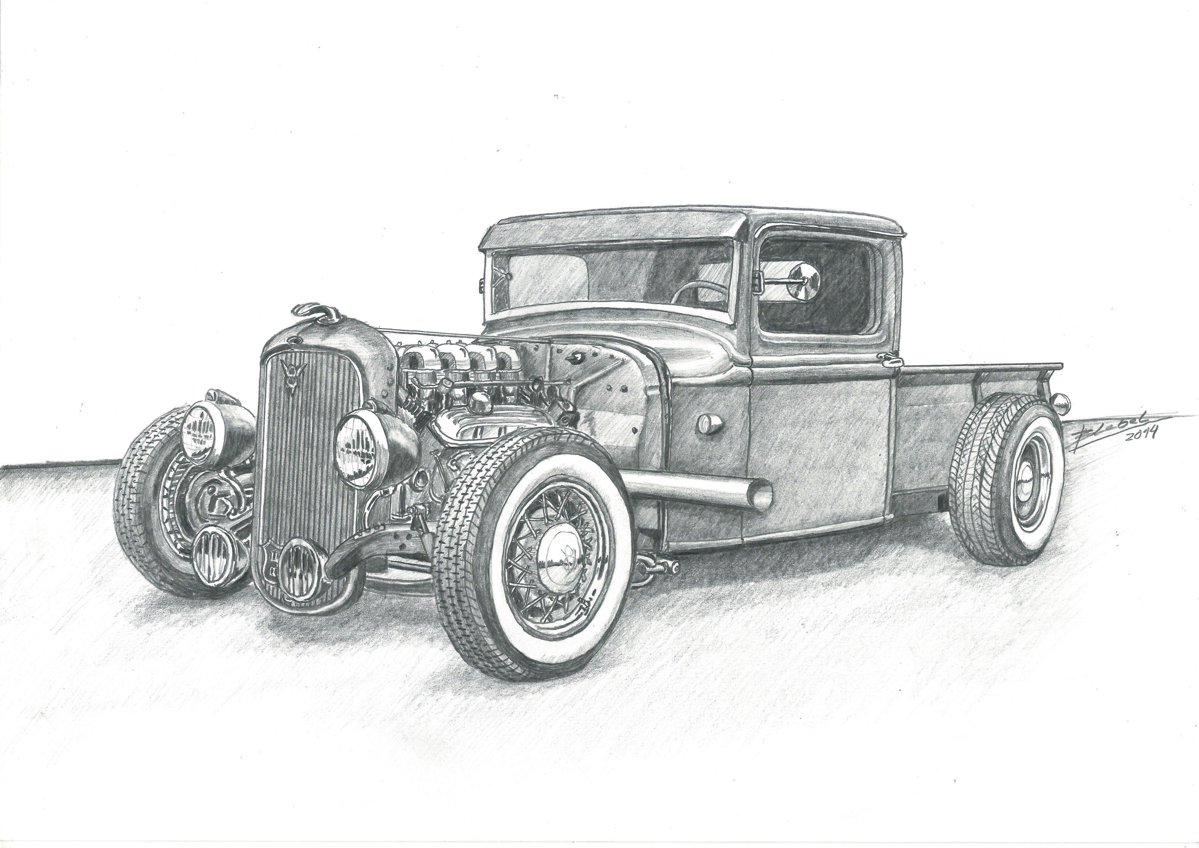 Titulo Bring It On Home Pickup Ford Rat Rod Tecnica Lapiz Grafito Sobre Papel Dimensiones 29 7 Cm X 21 Cm Autor Dibujos De Coches Hot Rod Rat Rods
