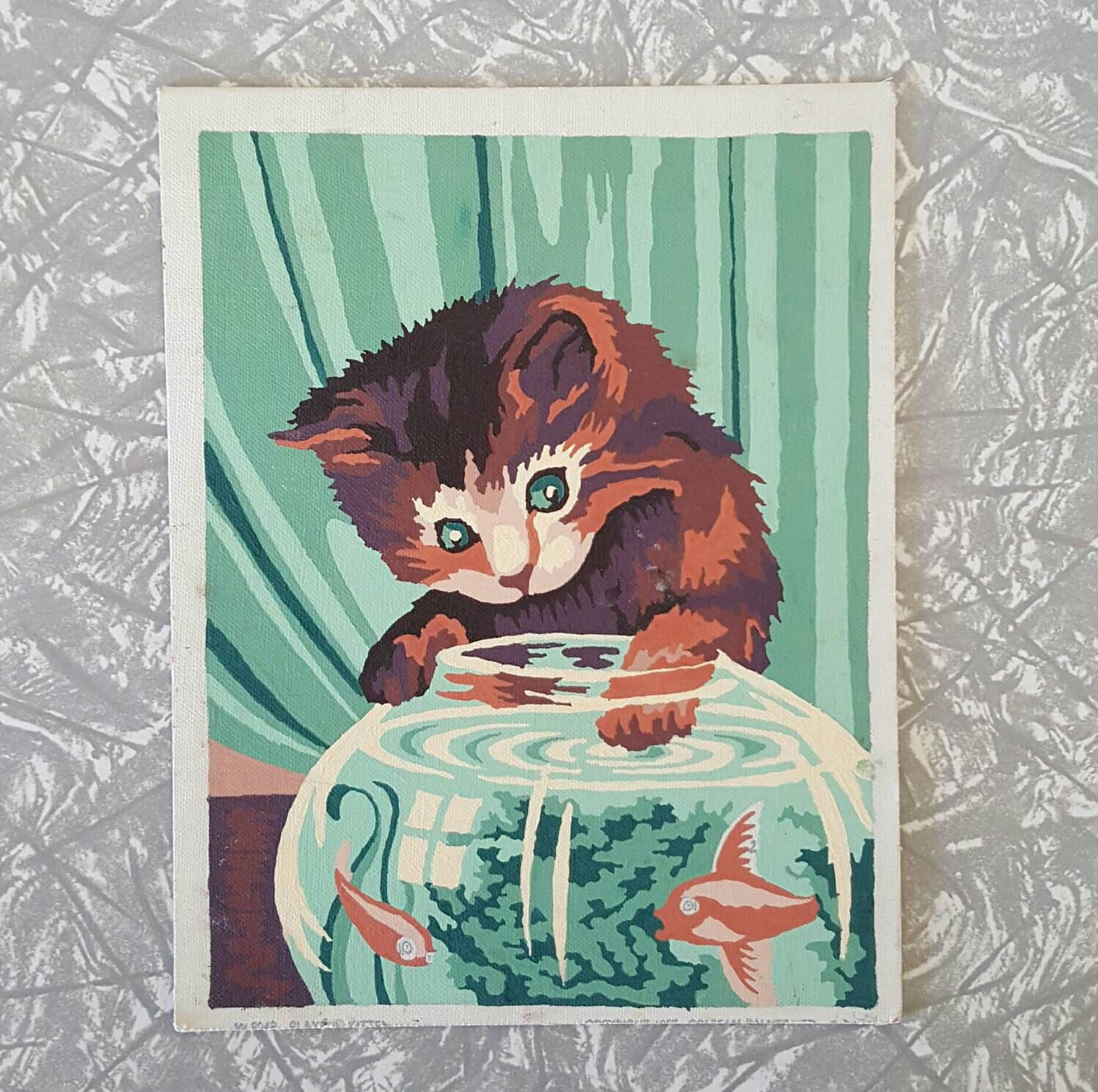 Vintage Paint by Numbers Playful Kitten by SheAdoresVintage on Etsy ...