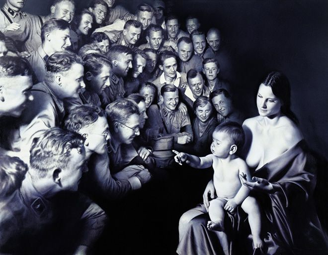 Gottfried Helnwein - Epiphany II (Adoration of the Shepherds), 1998, mixed media (oil and acrylic on canvas), 210 x 310 cm / 82 x 122, de Young Museum, San Francisco.