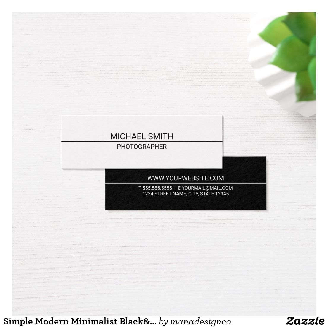 Simple Modern Minimalist Black&White Mini Business Card   Stylists ...
